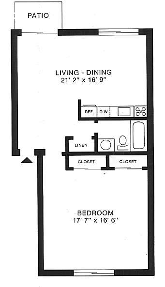 Gentil Floorplan: One Bedroom Studio